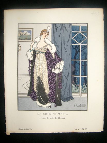 Gazette du Bon Ton by Dammy 1912 Art Deco Pochoir. Le Soir Tombe | Albion Prints